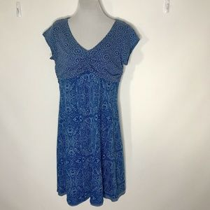 Athleta Summer Dress Womens M Ruched A line Blue L